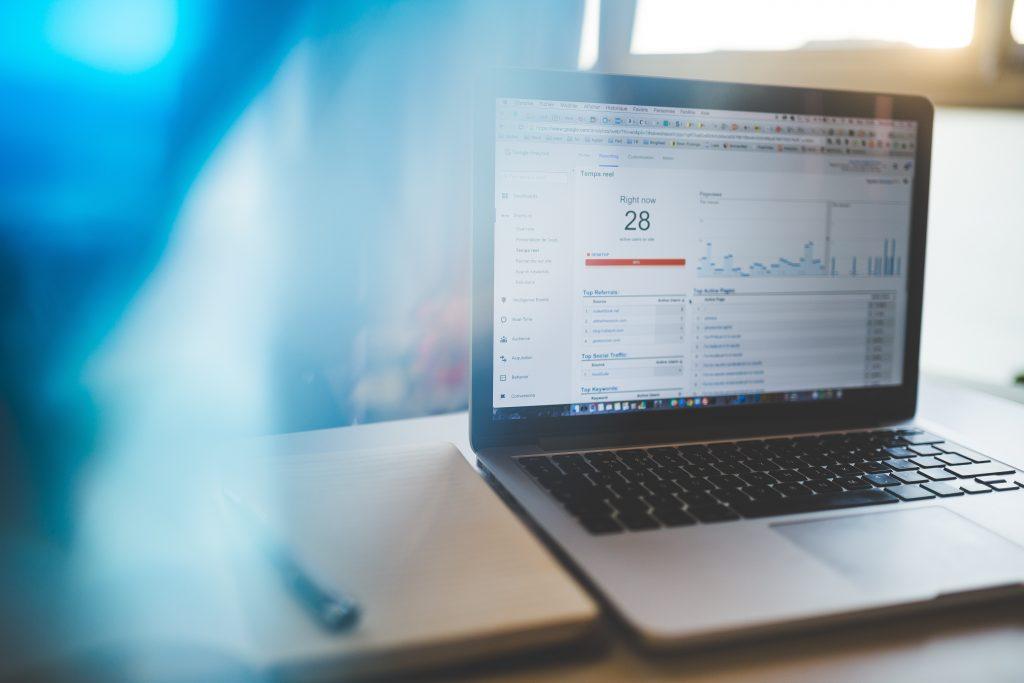 marketing data measure on laptop screen