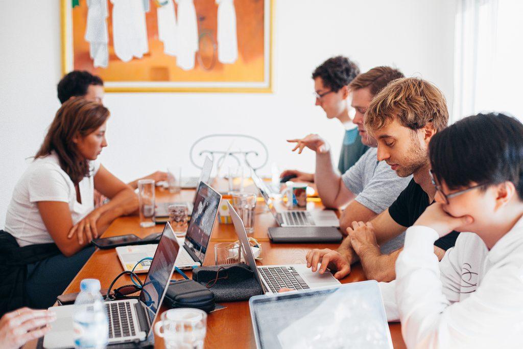 people on marketing team talking